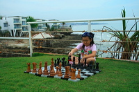teak chess set