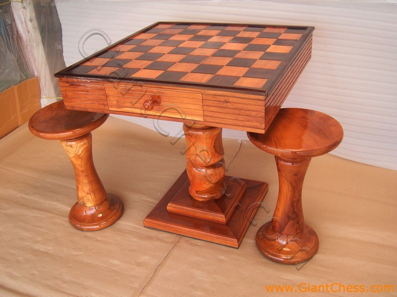 & Teak Wooden Chess Table