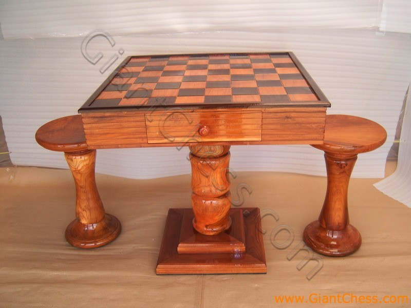 Teak wooden chess table with two stools - Wooden chess tables ...