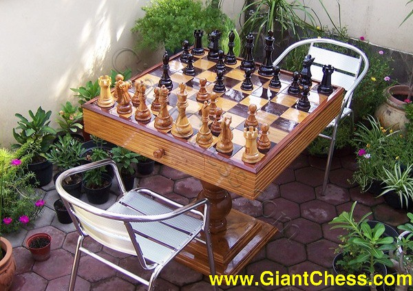 Wooden Large Chess Set For Outdoor Play Or Garden Games