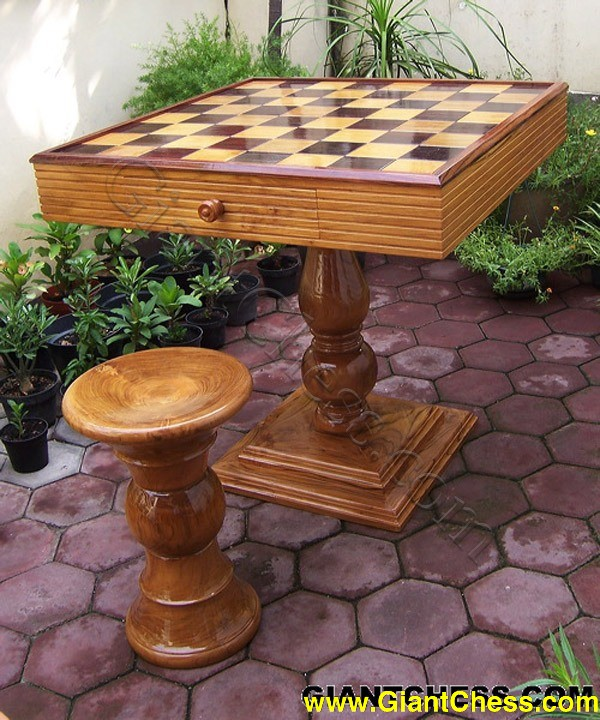 Giantchess wooden chess table - Wooden chess tables ...
