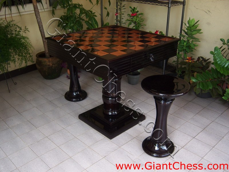 Beautiful Table Games - Outdoor Chess Table - Dark Brown