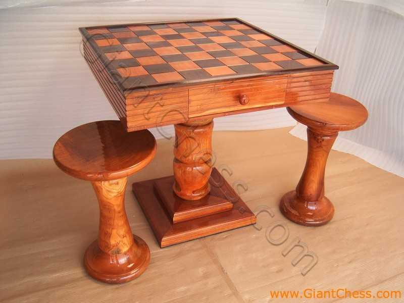 Wooden Chess Table ~ Games table for family teak wooden chess with two